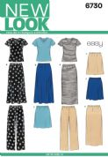 6730 New Look Pattern: Misses' Knit Tops, Skirts and Trousers